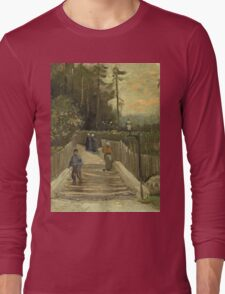 Vincent Van Gogh - Path In Montmartre. Street landscape: city view, streets, building, houses, prospects, cityscape, architecture, roads, travel landmarks, panorama garden, buildings Long Sleeve T-Shirt