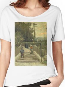 Vincent Van Gogh - Path In Montmartre. Street landscape: city view, streets, building, houses, prospects, cityscape, architecture, roads, travel landmarks, panorama garden, buildings Women's Relaxed Fit T-Shirt
