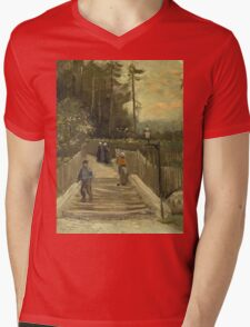 Vincent Van Gogh - Path In Montmartre. Street landscape: city view, streets, building, houses, prospects, cityscape, architecture, roads, travel landmarks, panorama garden, buildings Mens V-Neck T-Shirt