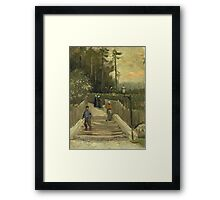 Vincent Van Gogh - Path In Montmartre. Street landscape: city view, streets, building, houses, prospects, cityscape, architecture, roads, travel landmarks, panorama garden, buildings Framed Print