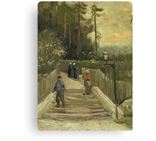 Vincent Van Gogh - Path In Montmartre. Street landscape: city view, streets, building, houses, prospects, cityscape, architecture, roads, travel landmarks, panorama garden, buildings Canvas Print