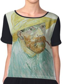 Vincent Van Gogh - Self-Portrait With Pipe And Straw Hat. Man portrait: strong man, boy, male, beard, business suite, trendy, boyfriend, smile, manly, sexy men, macho Chiffon Top