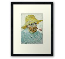 Vincent Van Gogh - Self-Portrait With Pipe And Straw Hat. Man portrait Framed Print