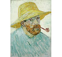 Vincent Van Gogh - Self-Portrait With Pipe And Straw Hat. Man portrait: strong man, boy, male, beard, business suite, trendy, boyfriend, smile, manly, sexy men, macho Photographic Print