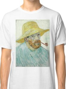 Vincent Van Gogh - Self-Portrait With Pipe And Straw Hat. Man portrait: strong man, boy, male, beard, business suite, trendy, boyfriend, smile, manly, sexy men, macho Classic T-Shirt