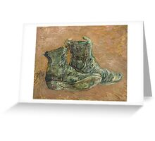 Vincent Van Gogh - Shoes.  shoes portrait:  shoes,  vintage shoes,  fashion,  colorful,  hipster,  leather ,  memories,  memory,  pair shoes,  boots, macho Greeting Card
