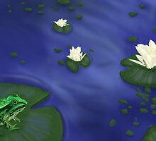 Frog and lily pads by PolarPawprints