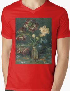Vincent Van Gogh - Small Bottle With Peonies And Blue Delphiniums. Still life with flowers: blossom, nature, botanical, floral flora, wonderful flower, plants, plant, kitchen interior, garden, vase Mens V-Neck T-Shirt