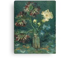 Vincent Van Gogh - Small Bottle With Peonies And Blue Delphiniums. Still life with flowers: blossom, nature, botanical, floral flora, wonderful flower, plants, plant, kitchen interior, garden, vase Canvas Print