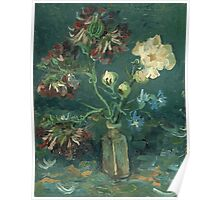 Vincent Van Gogh - Small Bottle With Peonies And Blue Delphiniums. Still life with flowers: blossom, nature, botanical, floral flora, wonderful flower, plants, plant, kitchen interior, garden, vase Poster