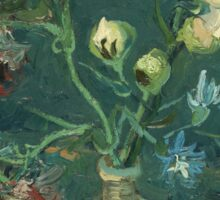 Vincent Van Gogh - Small Bottle With Peonies And Blue Delphiniums. Still life with flowers: blossom, nature, botanical, floral flora, wonderful flower, plants, plant, kitchen interior, garden, vase Sticker