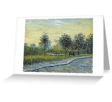 Vincent Van Gogh - Square Saint-Pierre At Sunset. Garden landscape: garden view, trees and flowers, blossom, nature, botanical park, floral flora, wonderful flowers, plants, cute plant, garden, flower Greeting Card