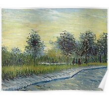 Vincent Van Gogh - Square Saint-Pierre At Sunset. Garden landscape: garden view, trees and flowers, blossom, nature, botanical park, floral flora, wonderful flowers, plants, cute plant, garden, flower Poster