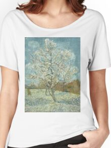Vincent Van Gogh - The Pink Peach Tree. Garden landscape: garden view, trees and flowers, blossom, nature, botanical park, floral flora, wonderful flowers, plants, cute plant, garden, flower Women's Relaxed Fit T-Shirt