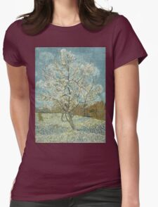 Vincent Van Gogh - The Pink Peach Tree. Garden landscape: garden view, trees and flowers, blossom, nature, botanical park, floral flora, wonderful flowers, plants, cute plant, garden, flower Womens Fitted T-Shirt