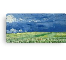 Vincent Van Gogh - Wheatfield Under Thunderclouds. Field landscape: field landscape, nature, village, garden, flowers, trees, sun, rustic, countryside, sky and clouds, summer Canvas Print