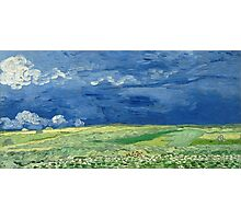 Vincent Van Gogh - Wheatfield Under Thunderclouds. Field landscape: field landscape, nature, village, garden, flowers, trees, sun, rustic, countryside, sky and clouds, summer Photographic Print