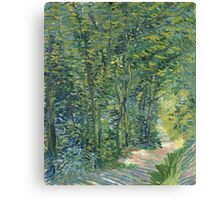 Vincent Van Gogh - Path In The Woods. Forest view: forest , trees,  fauna, nature, birds, animals, flora, flowers, plants, field, weekend Canvas Print