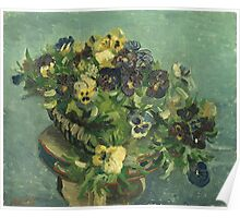 Vincent Van Gogh - Basket Of Pansies. Still life with flowers: flowers, blossom, nature, botanical, floral flora, wonderful flower, plants, cute plant for kitchen interior, garden, vase Poster