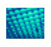 Modern Fashion Abstract Color Pattern in Blue / Green Art Print