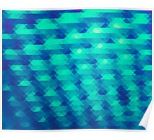 Modern Fashion Abstract Color Pattern in Blue / Green Poster