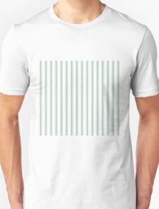 Mattress Ticking Wide Striped Pattern in Moss Green and White Unisex T-Shirt