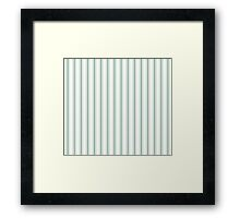 Mattress Ticking Wide Striped Pattern in Moss Green and White Framed Print