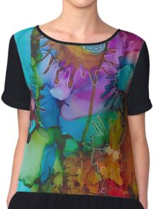 Bright Abstract Floral Chiffon Top
