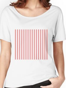 Mattress Ticking Wide Striped Pattern in Red and White Women's Relaxed Fit T-Shirt