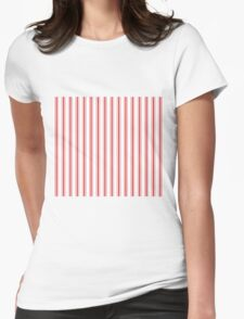 Mattress Ticking Wide Striped Pattern in Red and White Womens Fitted T-Shirt