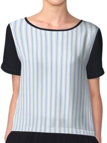 Mattress Ticking Narrow Striped Pattern in Pale Blue and White Chiffon Top