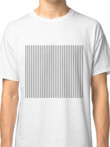 Mattress Ticking Narrow Striped Pattern in Dark Black and White Classic T-Shirt
