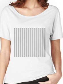 Mattress Ticking Wide Striped Pattern in Dark Black and White Women's Relaxed Fit T-Shirt