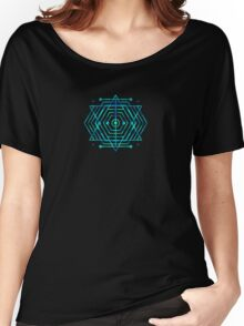 Modern Fashion Abstract Color Pattern in Blue / Green Women's Relaxed Fit T-Shirt