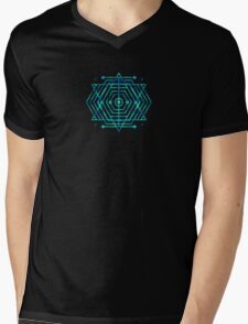 Modern Fashion Abstract Color Pattern in Blue / Green Mens V-Neck T-Shirt