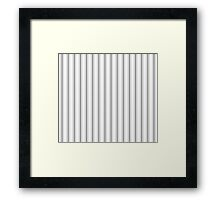 Mattress Ticking Wide Striped Pattern in Charcoal Grey and White Framed Print
