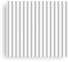 Mattress Ticking Wide Striped Pattern in Charcoal Grey and White Canvas Print