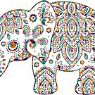 Colorful Paisley Elephant by artonwear