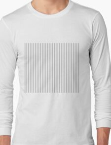 Mattress Ticking Narrow Striped Pattern in Charcoal Grey and White Long Sleeve T-Shirt