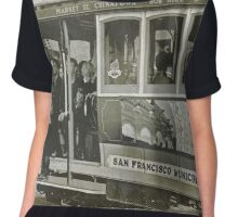San Francisco Cable Car in B&W Chiffon Top