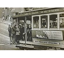 San Francisco Cable Car in B&W Photographic Print