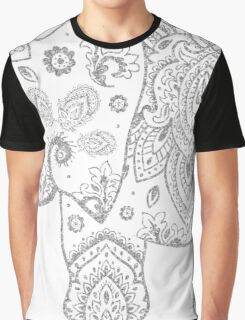 Silver Gray Glitter Floral Paisley Elephant Graphic T-Shirt