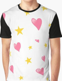 Pink Hearts and Gold Stars Graphic T-Shirt