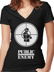 public enemy Women's Fitted V-Neck T-Shirt