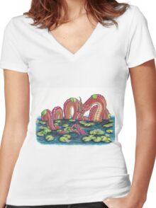 Phaya Naga - Serpent King Women's Fitted V-Neck T-Shirt