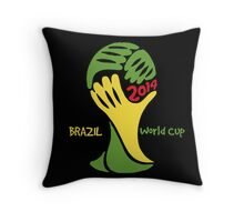 FIFA World Cup Logo Brazil 2014 with text Throw Pillow