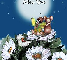 Mouse and Fairy, MISS YOU card by Robin Pushe'e