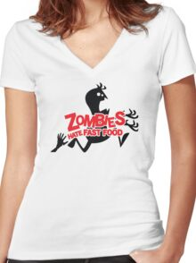Zombies Hate Fast Food Women's Fitted V-Neck T-Shirt