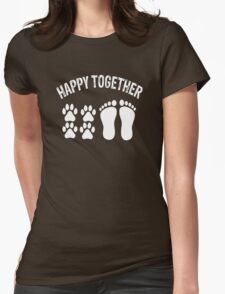 Happy Together With Dog Womens Fitted T-Shirt