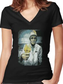 """""""Silas,"""" from The Friendly Horror Women's Fitted V-Neck T-Shirt"""
